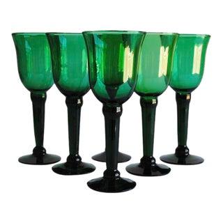 Vintage Green Wine Glasses - Set of 6 For Sale