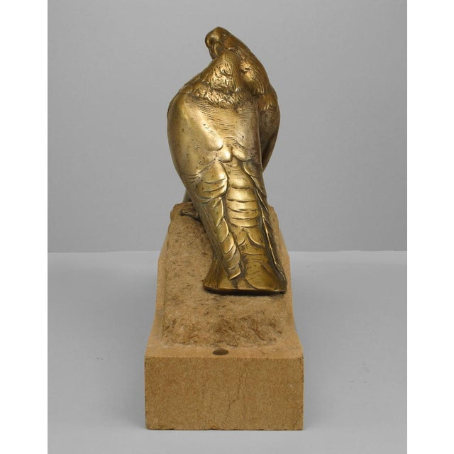 Art Deco Bronze Figure Of Two Pigeons Necking On Beige Marble Base For Sale - Image 4 of 7