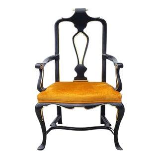 Vintage Widdicomb Mid-Century Modern Carved Scrolled Regency Arm Chair