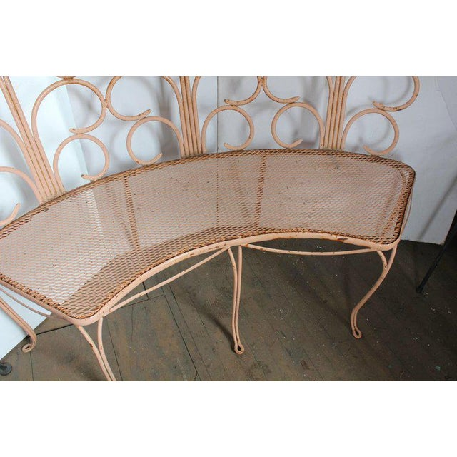 Mid-Century Modern Midcentury French Wrought Iron Garden Bench For Sale - Image 3 of 5
