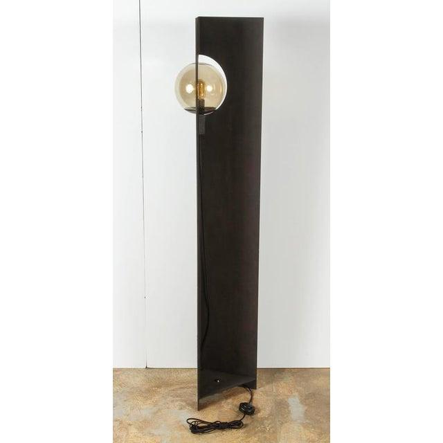 Metal Paul Marra Textured Steel Solitaire Floor Lamp For Sale - Image 7 of 8
