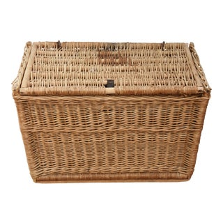 Vintage French Wicker/Wood Travel Trunk For Sale