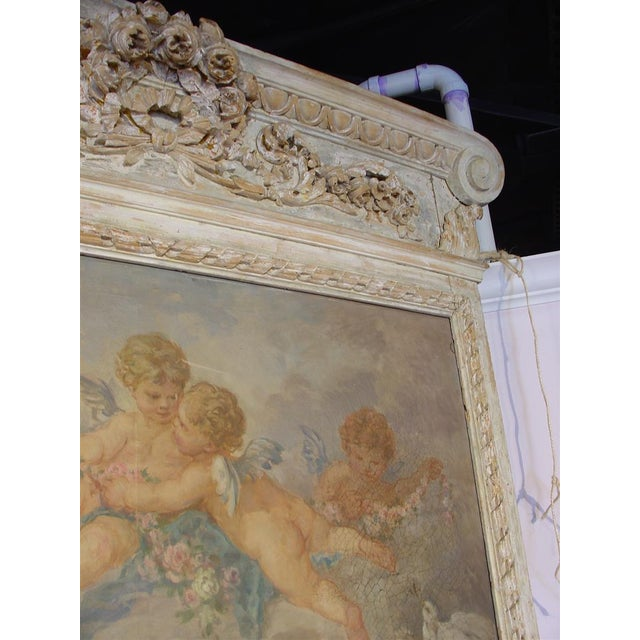 French Monumental Antique, French Parcel Paint Trumeau Mirror For Sale - Image 3 of 10