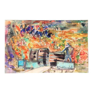 Watercolor by P. Gaillardot, Harvest at French Winery For Sale