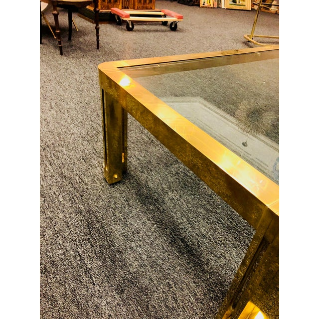 1970s Italian Brass Coffee Table With Great Design For Sale - Image 9 of 11