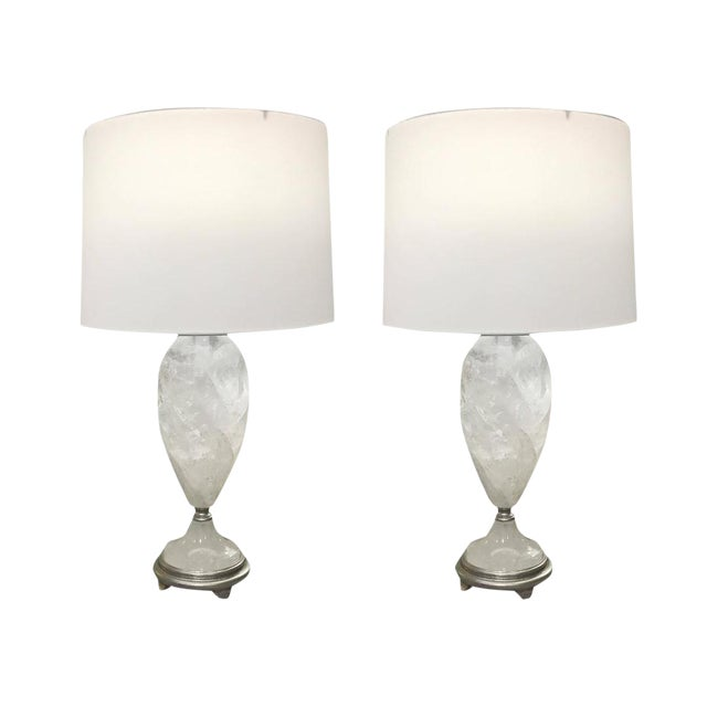 Brazilian Rock Crystal Urns Table Lamps - A Pair For Sale