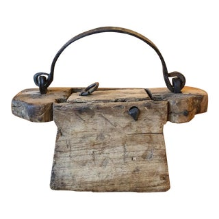 Folk Art Wood Carved Handbag/Purse With Hand Forged Hardware For Sale