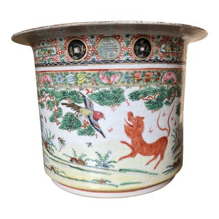 Vintage Chinese Export Rose Famile Jardiniere For Sale