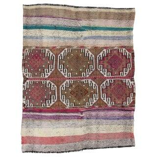 Vintage Decorative Turkish Kilim Rug- 4′6″ × 5′11″ For Sale