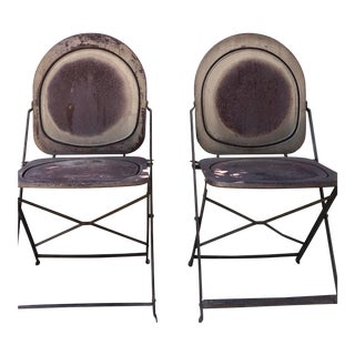 Vintage Metal Mid Century Outdoor Furniture Folding Chairs - a Pair For Sale