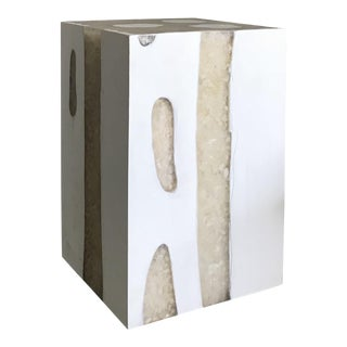 Modern Mieke by Made Goods White Teak Wood and Crystal Resin Side Table Stool For Sale