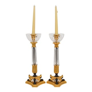 Pair of Baldi Italy Bronze & Crystal Empire Candlesticks For Sale