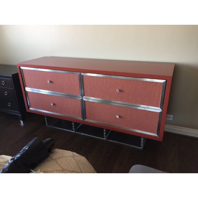 Birch Custom Modern Red Credenza For Sale - Image 7 of 7