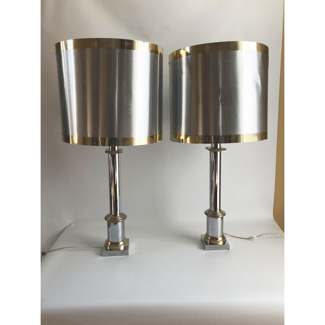 1970s Modernist Chrome & Brass Table Lamps - a Pair For Sale In Boston - Image 6 of 6