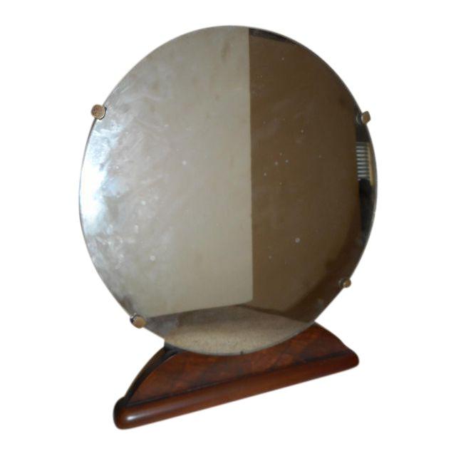 Round Art Deco Bureau Top Mirror - Image 1 of 3