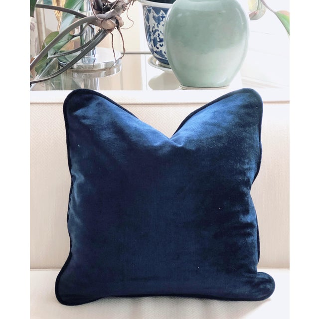 Modern Tone on Tone Teal Stripe Velvet and Down Pillow For Sale - Image 3 of 4