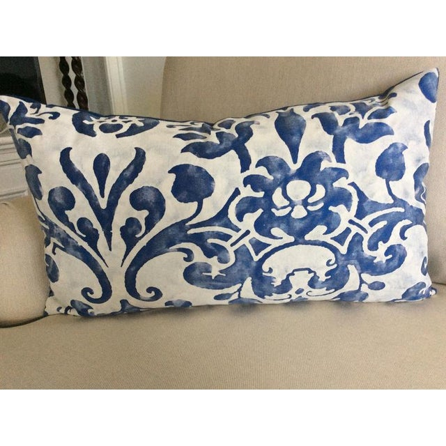 Wonderful pillow fashioned from Fortuny fabric. The pattern, Navata, is translated from the 6-medallion pattern on the...