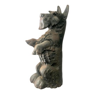 Vintage Wrought Iron Scottie Dog Door Stop For Sale