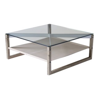 Sling Coffee Table in Glass and White Oak For Sale
