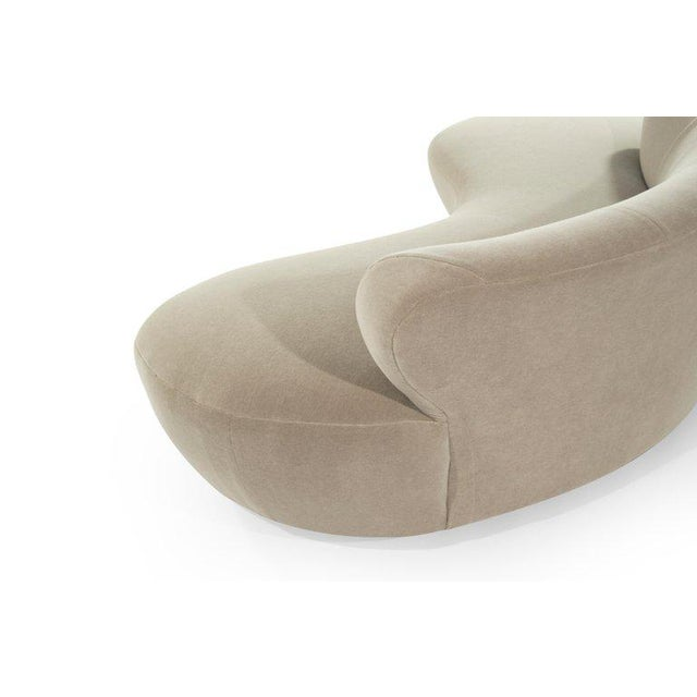 Tan Curved Sofa on Walnut Bases by Vladimir Kagan for Directional For Sale - Image 8 of 13