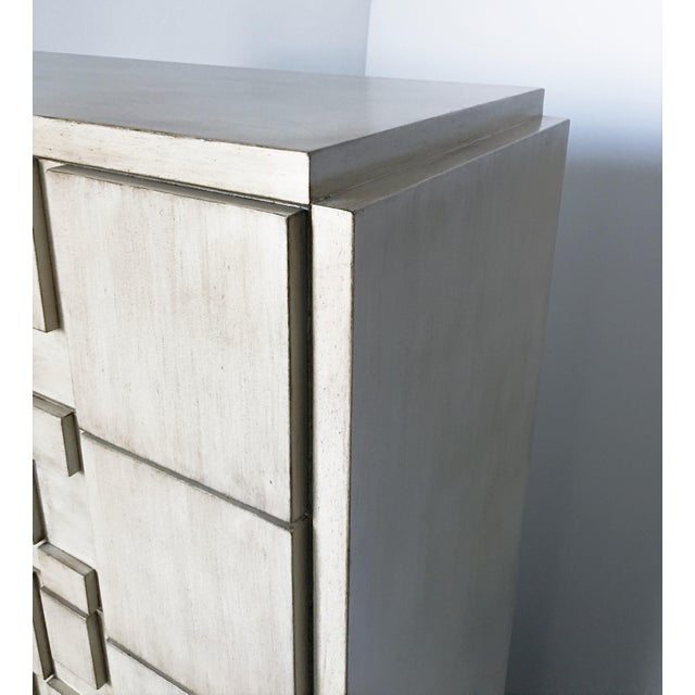 White Brutalist White Finish Tall Cabinet or Chest by Lane For Sale - Image 8 of 9