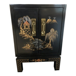 Chinoiserie Style End Table/Cabinet For Sale