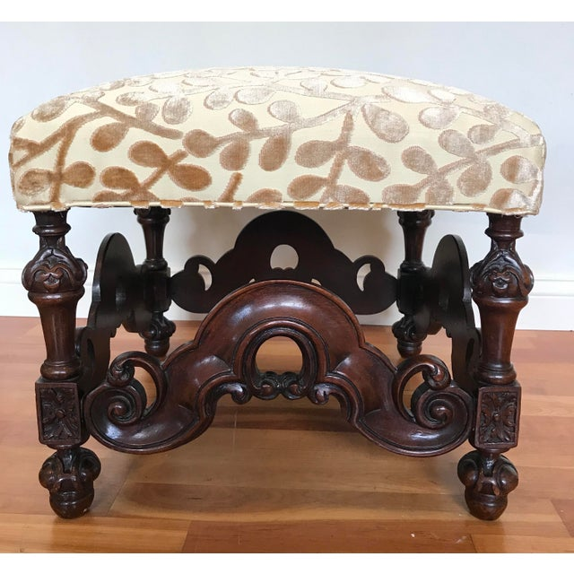 Charles II Style English Jacobean Tutor Mahogany Footstool Upholstered in Beacon Hill Sommer Sonata - a Pair For Sale - Image 6 of 13