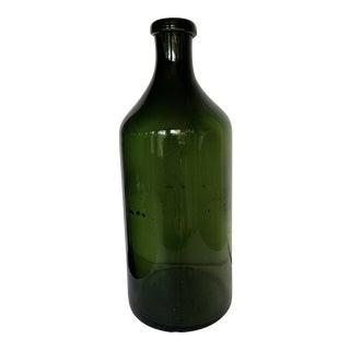 1970s Demijohn Hand-Blown Tall Green Glass Bottle For Sale