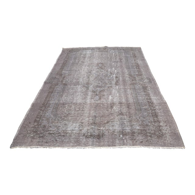 "Turkish Gray Overdyed Floor Rug - 5'10"" x 9'1"" For Sale"