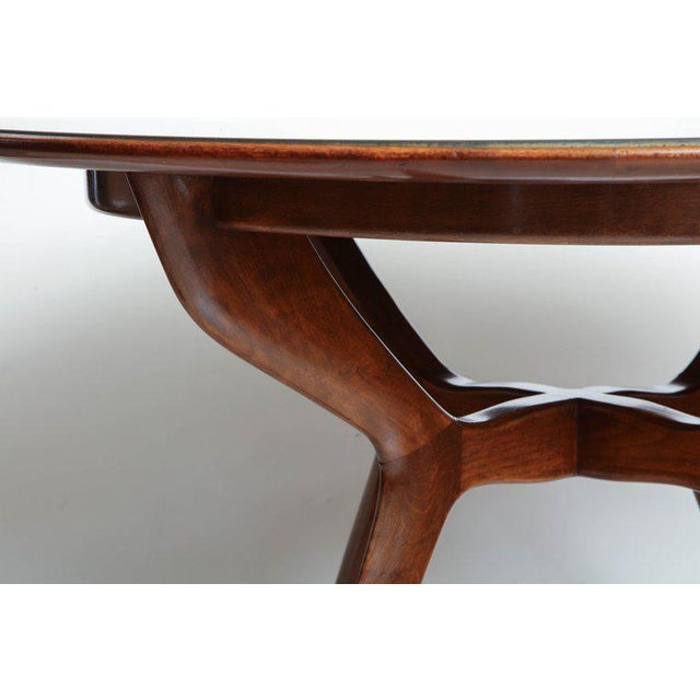 1950s Mid-Century Circular Wood Center Table With Reverse Painted Gold Glass Top For Sale - Image 5 of 8
