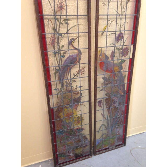 Glass Late 19th Century French Painted and Fired Stained Glass Windows - a Pair For Sale - Image 7 of 13