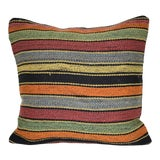 Image of Striped Turkish Kilim Pillow Cover, Tribal Ethnic Wool Farmhouse Decor 16'' X 16'' (40 X 40 Cm) For Sale