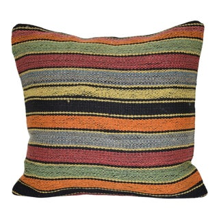 Striped Turkish Kilim Pillow Cover, Tribal Ethnic Wool Farmhouse Decor 16'' X 16'' (40 X 40 Cm) For Sale