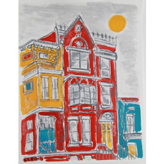 Contemporart Painting by Cleo Plowden of Victorian Row House For Sale