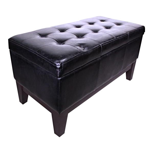 Marvelous Black Faux Leather Storage Ottoman Pabps2019 Chair Design Images Pabps2019Com