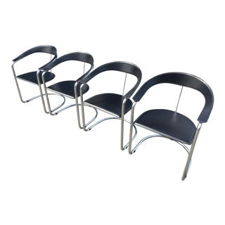 Arrben of Italy Chrome & Black Leather Canasta Chairs - Set of 4 For Sale