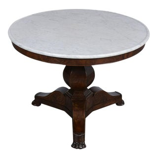 Traditional 19th Century French Empire Style Pedestal Center Table For Sale