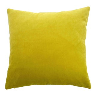 Modern FirmaMenta Italian Solid Chartreuse Velvet Pillow For Sale