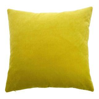 Modern FirmaMenta Italian Solid Chartreuse Velvet Pillow For Sale
