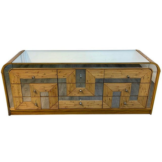 Fabulous Midcentury Mirror Inlaid Segmented Bamboo Dresser or Credenza For Sale - Image 12 of 12