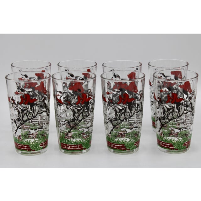 A superb set of eight English highball drinking glasses depicting scenes of a fox hunt. The perfect gift for the hunting,...