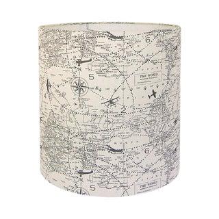 Premier Prints Air Traffic Maps Natural Gray Custom Drum Custom lampshade For Sale