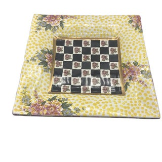 Vintage Mackenzie Childs Floral and Checkerboard Design Square Tray For Sale