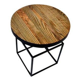 Willard Ash Wood Top Steel Side Table For Sale