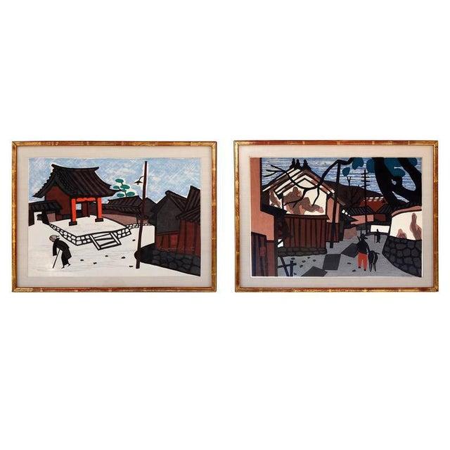 1950s Vintage Kiyoshi Saito Wood Block Prints - A Pair For Sale In Houston - Image 6 of 6
