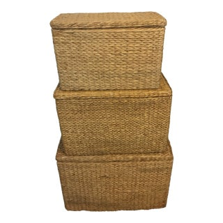 Neutral Colored Wicker Baskets - Set of 3 For Sale