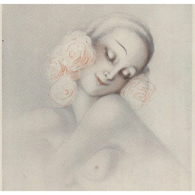 This is a wonderful story illustration that originally appeared in a 1930 French periodical. It is a intimate image of a...