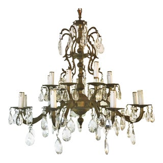 Vintage 18-Light Spanish Bronze and Crystal Multi-Tiered Chandelier For Sale
