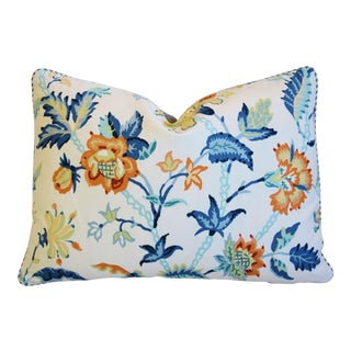"Schumacher Thistle Floral Feather/Down Pillow 22"" X 16"" For Sale"