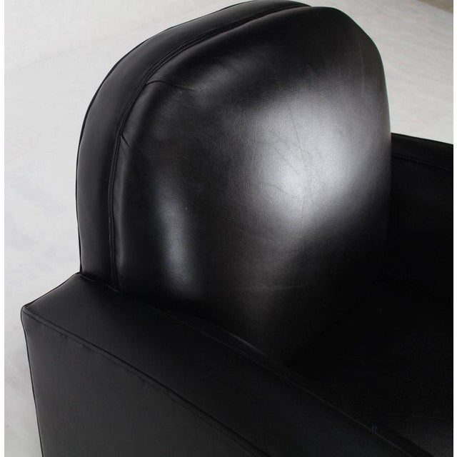 Black Deco Style Black Leather Thick Arm Rests Lounge Tank Chairs - a Pair For Sale - Image 8 of 10